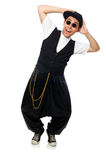 The funny young man dancing isolated on white Royalty Free Stock Images