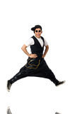 The funny young man dancing isolated on white Stock Photo