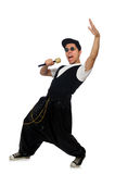 The funny young man dancing isolated on white Stock Photography