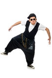 The funny young man dancing isolated on white Stock Image