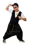 The funny young man dancing isolated on white Royalty Free Stock Photo