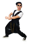 The funny young man dancing isolated on white Stock Images