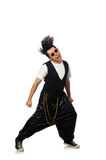 The funny young man dancing isolated on white Stock Photos