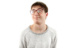 Funny Young Man in Glasses Royalty Free Stock Photography