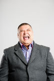 Funny man portrait real people high definition grey background royalty free stock photography