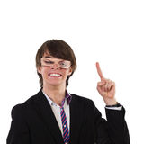 Funny young man pointing up Stock Image