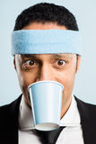 Funny man portrait real people high definition blue background Stock Photography