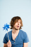 Funny man portrait real people high definition blue background Royalty Free Stock Image
