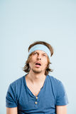 Funny man portrait real people high definition blue background Royalty Free Stock Photos
