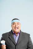 Funny man portrait real people high definition blue background Stock Image