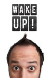 Funny Young Man With Wake Up Sign Over Head Stock Photography
