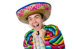 Funny young mexican with false moustache isolated Stock Photo