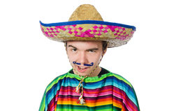 Funny young mexican with false moustache isolated Stock Image