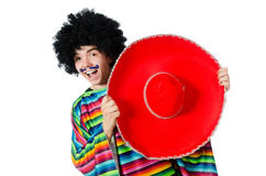 Funny young mexican with false moustache isolated Stock Images