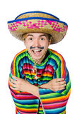 Funny young mexican with false moustache isolated Stock Photos