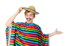 Funny young mexican with false moustache isolated Stock Photography