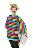 Funny young mexican with false moustache isolated Royalty Free Stock Photography