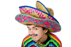 Funny young mexican with false moustache isolated Royalty Free Stock Image