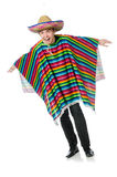 Funny young mexican with false moustache isolated Royalty Free Stock Photos