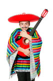 Funny young mexican with guitar isolated on white Royalty Free Stock Photography