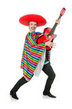 Funny young mexican with guitar isolated on white Royalty Free Stock Photo