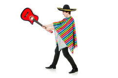 Funny young mexican with guitar isolated on white Royalty Free Stock Image