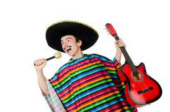 Funny young mexican with guitar isolated on white Stock Photography