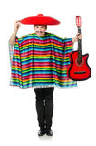 Funny young mexican with guitar isolated on white Royalty Free Stock Photos
