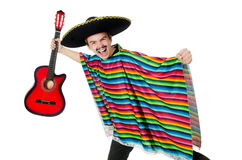 Funny young mexican with guitar isolated on white Stock Photos