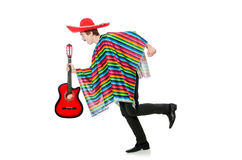 Funny young mexican with guitar isolated on white Royalty Free Stock Images