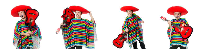 The funny young mexican with guitar isolated on white Stock Photos