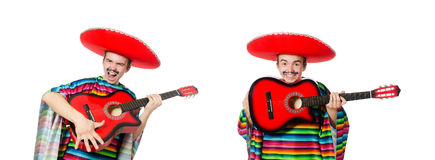 The funny young mexican with guitar isolated on white Royalty Free Stock Photo
