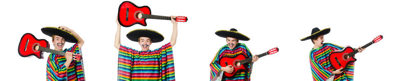 The funny young mexican with guitar isolated on white Stock Photo
