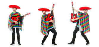 The funny young mexican with guitar isolated on white Stock Photography
