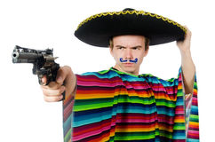 Funny young mexican with gun isolated on white Royalty Free Stock Photography