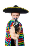 Funny young mexican with gun isolated on white Royalty Free Stock Images