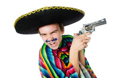 Funny young mexican with gun isolated on white Royalty Free Stock Photos