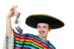 Funny young mexican with gun isolated on white Stock Photo