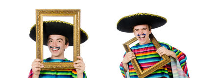The funny young mexican with photo frame isolated on white Stock Images