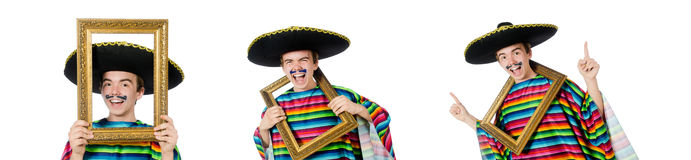 The funny young mexican with photo frame isolated on white Royalty Free Stock Images
