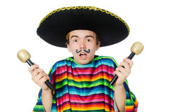 Funny young mexican shaking maracas isolated on Royalty Free Stock Photo