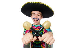 Funny young mexican shaking maracas isolated on Stock Photography