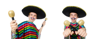 The funny young mexican shaking maracas isolated on white. Funny young mexican shaking maracas isolated on white stock image
