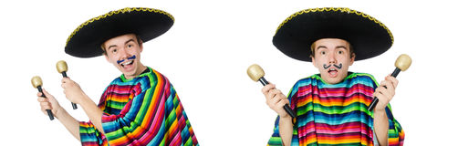 The funny young mexican shaking maracas isolated on white. Funny young mexican shaking maracas isolated on white royalty free stock images