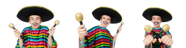 The funny young mexican shaking maracas isolated on white. Funny young mexican shaking maracas isolated on white royalty free stock photo