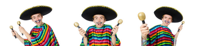 The funny young mexican shaking maracas isolated on white. Funny young mexican shaking maracas isolated on white stock photography