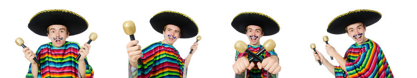 The funny young mexican shaking maracas isolated on white. Funny young mexican shaking maracas isolated on white royalty free stock photos