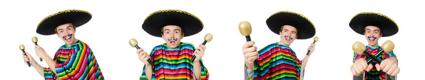 The funny young mexican shaking maracas isolated on white. Funny young mexican shaking maracas isolated on white royalty free stock image