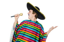 Funny young mexican sings isolated on white Royalty Free Stock Image