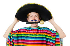 Funny young mexican sings isolated on white Royalty Free Stock Photo